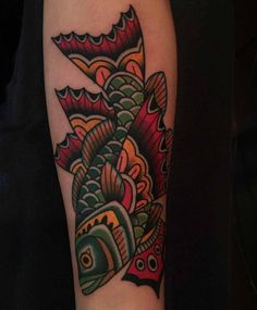 neo-traditional tattoo butterfly fish