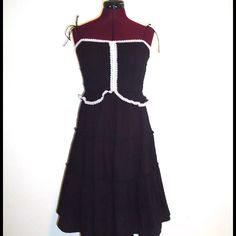 Black Dress Lace Spaghetti Straps Midi S M Boho