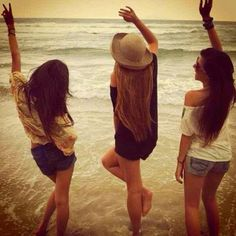 going to the beach, & taking pictures with your friends. <3