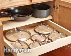 Rollout drawer hides your lids & other DIY kitchen storage ideas Kitchen Organization, Organization Hacks, Kitchen Storage, Organized Kitchen, Organizing Tips, Kitchen Redo, Kitchen Dining, Kitchen Remodel, Kitchen Ideas