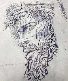 Jesus Tattoo Design, Tattoo Design Drawings, Tattoo Sketches, Tattoo Designs Men, Chicano Art Tattoos, Body Art Tattoos, 3d Tattoos, Tattoo Crane, Forearm Sleeve Tattoos