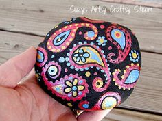 Hand painted Stone paisley red, blue, and gold metallic