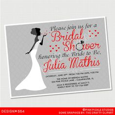 Bridal Shower SILHOUETTE Invitation or Thank by PinkPickleParties, $10.00