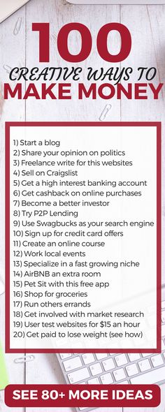 CHECK THIS OUT! Over 100 ways to make money in your spare time. A LOT of good tips, strategies, and ideas for side hustles or legit businesses.