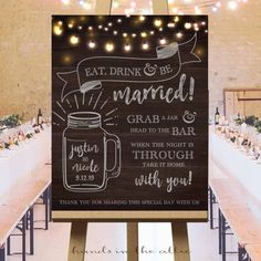 Wedding mason jar bar sign drinking glasses personal mugs eat drink and be married drinks refill guests wedding souvenirs keepsake DIGITAL by HandsInTheAttic