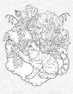 Buy Cat Playing With Butterfly By NadiiaZ On GraphicRiver Floristic Coloring Page A