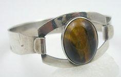Israeli Sterling Tiger Eye Bracelet - Garden Party Collection Vintage Jewelry