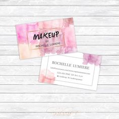 Makeup artist calling card-Small business owner card-Photography business card-Watercolor stylish calling card
