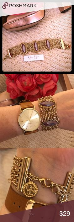 """NWT Jessica Simpson bracelet NWT Jessica Simpson """"mineral encrusted"""" bracelet. Gorgeous light purple marquis shaped stones surrounded with small gold/coppery colored stones. Adjustable to fit any wrist size. Perfect 🎄 gift! Jessica Simpson Jewelry Bracelets"""