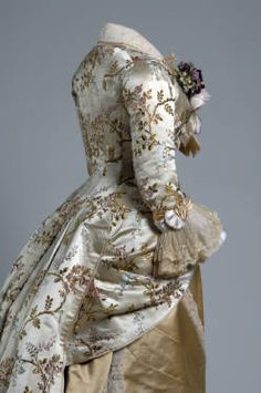 Dinner dress, 1878, French. Silk brocade