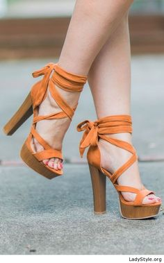 9e637adce21 Awesome orange sandals and red nails - LadyStyle Lace Up Heels
