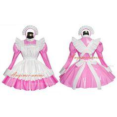 Sexy Sissy Maid Dress Pvc Dress Pink Lockable Uniform Cosplay Costume Custom-Made[G519] - Sissy Maid Uniform
