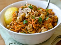 Middle Eastern in minutes: carrot and chickpea salad with fried almonds #recipe #salad