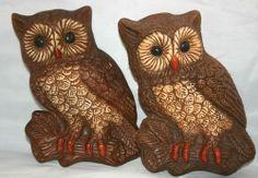 2 Vintage Owl Wall Plaques 1970s Foam Art @MagnumVintage&Thrift #ebay