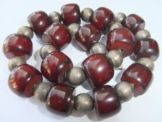 RARE Vintage Art Deco Cherry Amber Bakelite Sterling Silver Bead Necklace | eBay