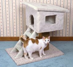 Cat Tree House Wood Plans Show your cat that you care by making him/her a tree house to play in. #diy #woodcraftpatterns