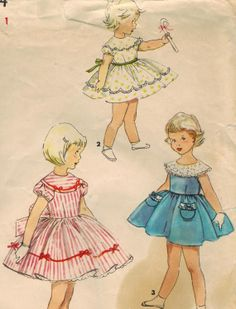 1950s Simplicity 4954 Vintage Sewing Pattern Toddler's Dress Size 1