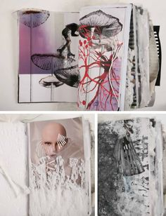 These outstanding sketchbook pages are by an up-and-coming young designer who has had work worn by Lady Gaga. The inviting, textural, mixed-media pages are filled with multiple layers of mediums; each page treated as an artwork itself. Dramatic human faces have been collaged into the work and then collaged, cut and drawn over.