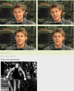 [GIFSET] Jensen interview. He was a cheerleader, why do you think Dean always jumps fences with ease