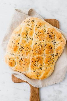 Making your own homemade Turkish Pide Bread is so easy and doesn't even involve kneading. Let me show you how to bake this Turkish bread recipe at home without much effort. Turkish Pide Bread Recipe, Turkish Recipes, Baking Recipes, Cake Recipes, Vegan Recipes, Easy Flatbread Recipes, Turkish Breakfast, Savoury Baking, Healthy Eating Tips