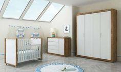 Quarto Infantil Completo com Guarda-roupa, Berço e Cômoda Teka Touch/Branco Acetinado - Matic Móveis | Lojas KD