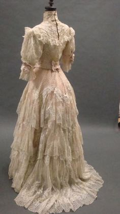 ~Afternoon dress organza embroidered DOUCET 1900 Overlay three petticoats: apricot taffeta, organza in-between lace and linen embroidered his ...~