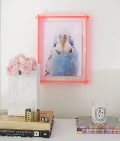 Neon pink or yellow acrylic perspex box frame for art, photos, paintings, and treasures by Australian designer The Creative Muster