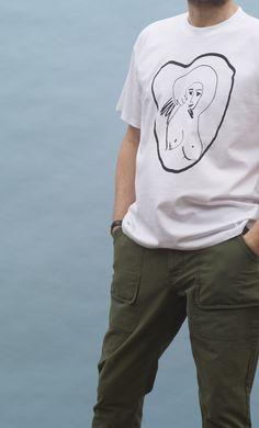Camiseta de la mar a Malasuertemente con dibujo en serigrafíamanual, a una sola tinta.