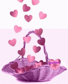 Animated Basket of Pink Hearts valentine's day happy valentine's day graphics valentine gifs
