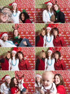 "Sheets of various wrapping paper taped to the wall makes the perfect ""photo booth"" for your Ugly Sweater Party!"