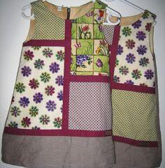 Skønne kjoler til pigerne. Tag et mønster på en kjole uden ærmer og tegn dine felter op på mønsterets front før du klipper. se flere billeder på www.cocone.dk