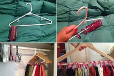 Genius...I have a few friends that have enough scarves for this!  Clothes Hanger & Shower Hooks to hang belts or scarves on