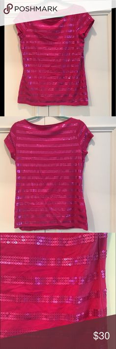 Statement TOP w Sequins - ANN TAYLOR LOFT  Gorgeous ANN TAYLOR LOFT TOP with Sequins front & back. Beautiful fuchsia color in Size L and fine condition. May be new - I don't recall wearing. STATEMENT TOP for your outfits. Ann Taylor Tops
