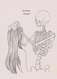 My Princess My Queen by Haenuli Shin. Skeleton Drawings, Art Drawings, Skeleton Art, Drawings Of Love, Trippy Drawings, Inspiration Art, Art Inspo, Haenuli Shin, Dark Art