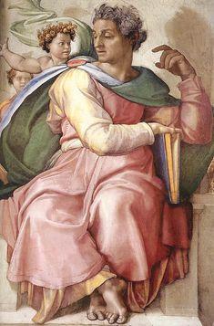 "Michelangelo Buonarroti, ""The Prophet Isaiah"" (1509) Inspired Norman #Rockwell for his interpretation of Rosie the Riveter in 1943."