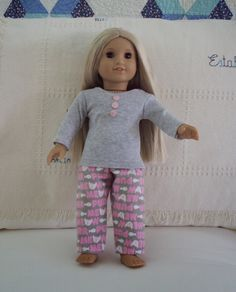 """Easy pajamas for American Girl Doll (18"""", 48 cm) - free patterns."""