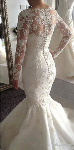 2016 Lace Mermaid Wedding Dresses Long Sleeves Detachable Top Chapel Train Bridal Gowns