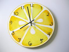Lemon Slice Recycled Wall Clock: This wall clock is made from a repurposed vinyl LP. It's been hand-painted with a gorgeous lemon print and whimsical numbers. Clock Painting, House Painting, Vinyl Lp, Vinyl Records, Kitchen Clocks, Kitchen Decor, Lemon Kitchen, Lemon Wreath, How To Make Wall Clock