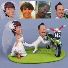 Dirt Bike Wedding Cake Topper with Bride Dragging Groom Away From Dirtbike... I love this but to make it our own i would change the bike to a Harley..