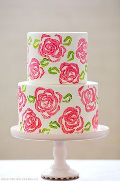 Stamped Pink Roses Tiered Cake