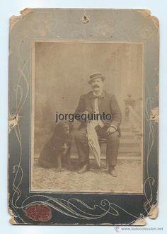 Fotografía antigua: RETRATO. D. ANTONIO RAYA Y SU PERRO. CENTRO FOTOGRÁFICO VILLAR. MURCIA. 1906. 13,5 X 19,5 CMS. - Foto 1 - 53958257