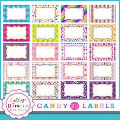 Candy Labels frames 20 g candyland labels for by LillyBimble, $5.00 [Purchased required - however, great candy printables digital clip art]
