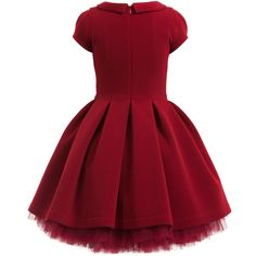 Monnalisa Chic gorgeous red couture dress made from super smooth neoprene with beautiful flowers appliqued on the front. With a smart collar and puffed sleeves, it has a pleated waist and elegant shape. It has a separate tutu petticoat dress to be worn underneath, made from soft, stretchy cotton jersey with many layers of tulle netting for a full and feminine look.