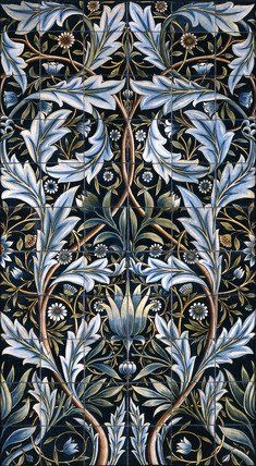 Panel of 66 tiles, by William Morris and William de Morgan. Slip covered and hand-painted on industrially produced earthenware tile blanks. England, 1876.