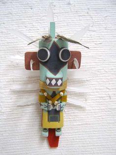 Old Style Hopi Carved Ahote Traditional Hunter Katsina Doll