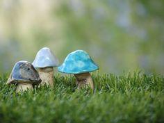 Three Ceramic Mushrooms $21.00 #homedecor #ceramic #mushrooms