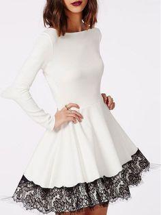 White Contrast Lace Hem Flare Dress