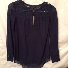 NWT Jcrew sheer navy blue top Beautiful Jcrew sheer navy blue blouse. Brand new condition tags still on. J. Crew Tops