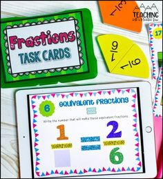 We are learning all about equivalent fractions in fourth grade math! These differentiated task cards have been a lifesaver and are so much fun.  They are printable and digital and let my students in fourth, fifth and sixth grades have practice finding common denominators and making equivalent fractions in google classroom.  Perfect for distance learning. Teaching Fractions, Math Fractions, Simplest Form Fractions, Fraction Word Problems, I Love Math, Equivalent Fractions, Fourth Grade Math, Math Projects, Upper Elementary