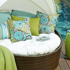 A bold floral print can add a fresh pop of color to a solid backdrop.#Pier1OutdoorParty #Sponsored #MC